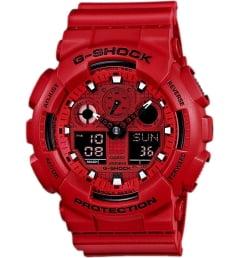 Casio G-Shock GA-100C-4A с красным циферблатом